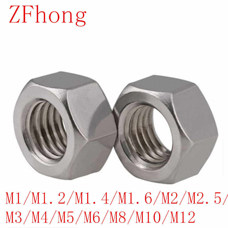 5-50PCS DIN934 m1 m1.2 m1.4 m1.6 M2 M2.5 M3 M4 M5 M6 m8 m10 m12 สแตนเลสสตีล hex Nut