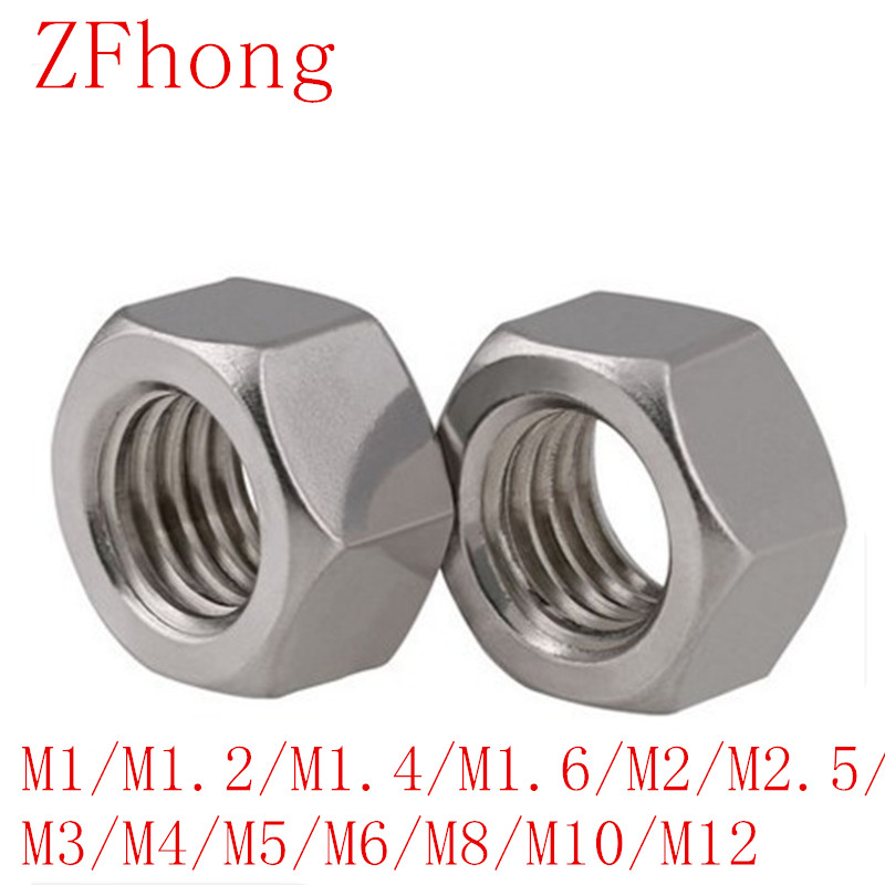 5-50PCS DIN934 m1 m1.2 m1.4 m1.6 M2 M2.5 M3 <font><b>M4</b></font> M5 M6 m8 <font><b>m10</b></font> m12 Stainless Steel Hex Nut image