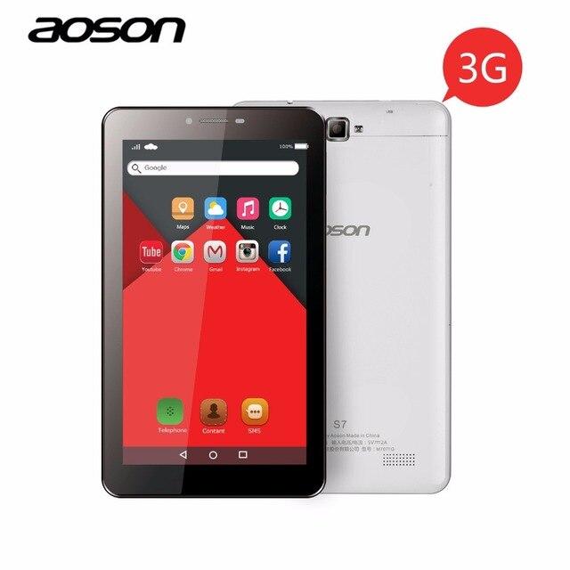 Лидер продаж, 3 г Phablet AOSON S7 7 дюймов Tablet PC 8 ГБ + 1 ГБ IPS Android 5.1 Quad Core двойной cam телефонный звонок таблетки GPS Bluetooth 7 8 10 10.1