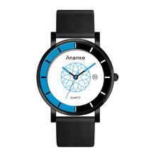 Ananke Fashion Casual Waterproof Quartz Black Genuine Leather Watch Men Slim Thin Calendar Watches Man Clock Relogio Masculino