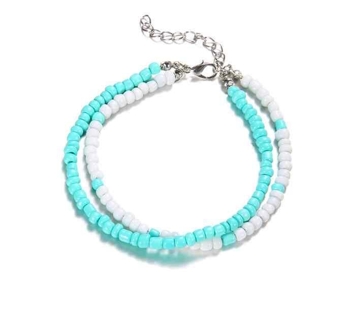 2 sztuk/zestaw niebieski w stylu bohema paciorek powłoki rozgwiazda obrączki dla kobiet najlepszy prezent biżuteria na stopy sandały buty Barefoot Beach bransoletka na kostkę