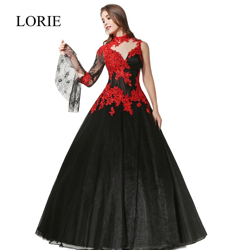 Black And Red Wedding Dress 2017 LORIE Robe Mariage High