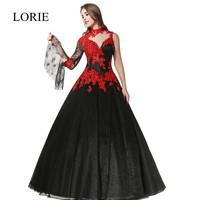 Romantic Black Gothic Ball Gown Wedding Dresses High Neck Long Sleeve Red Lace Appliqued Sexy Taffeta