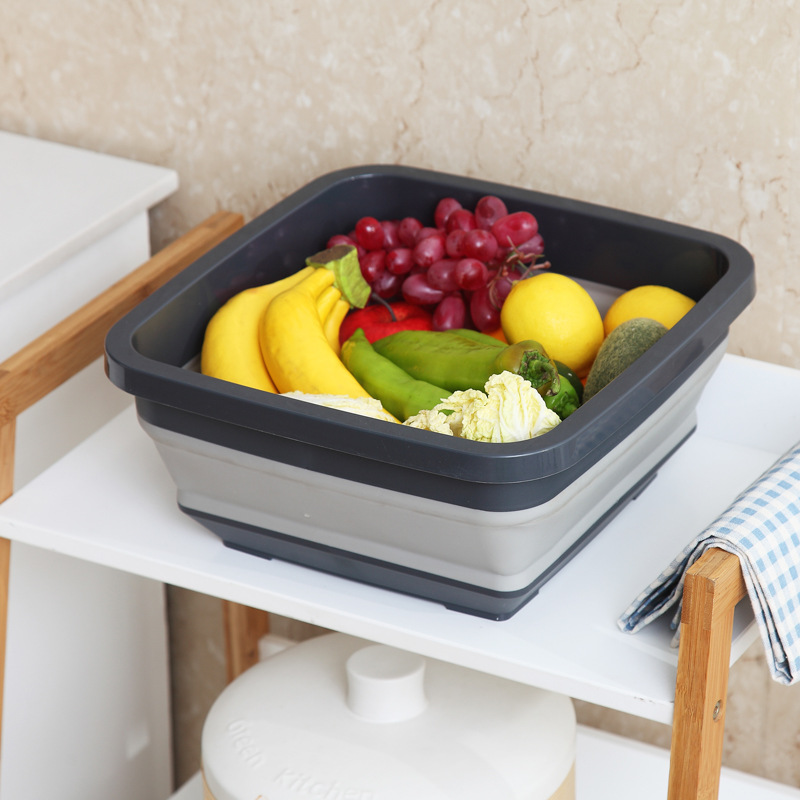 Portable Silicone Folding Basin Fruit Vegetable Basket Outdoor Fishing Camping Wash Bucket Save Space Household Cleaning Tools|Buckets| |  - title=