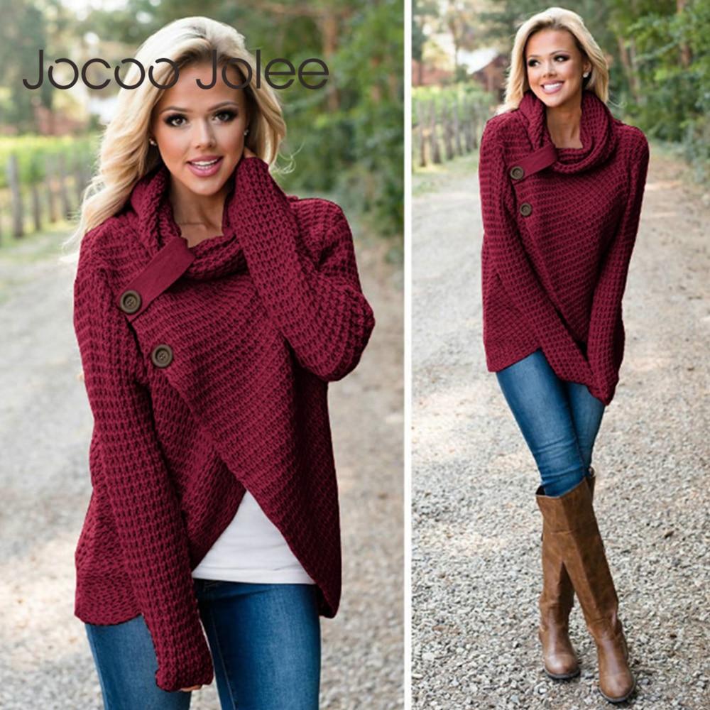 Jocoo Jolee Turtleneck Sweater Women Autumn Long Sleeve Elastic Knitwear Sweater Female Loose Pullover Plus Size Tops 5XL