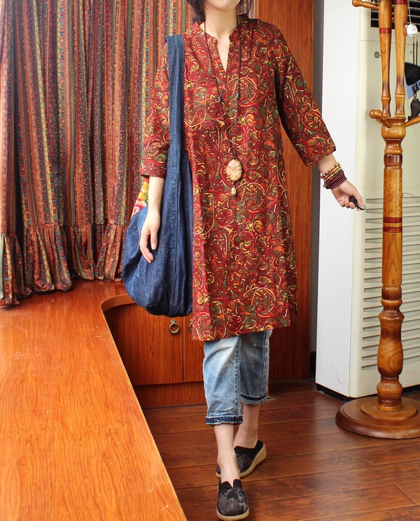 В народном стиле женские весенние ретро с v-образным воротником Длинные рубашки простые свободные хлопковые льняные длинные блузки