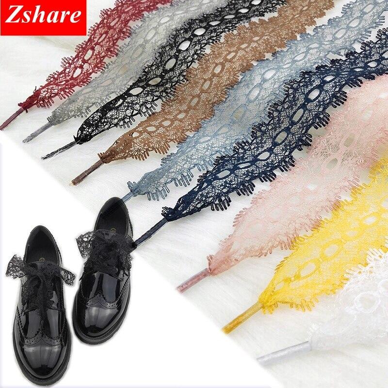 1Pair 3CM Width Sexy Lace Shoelaces Sneaker Shoes Laces Fashion Quality Shoelace For Women Length 80/100/120CM