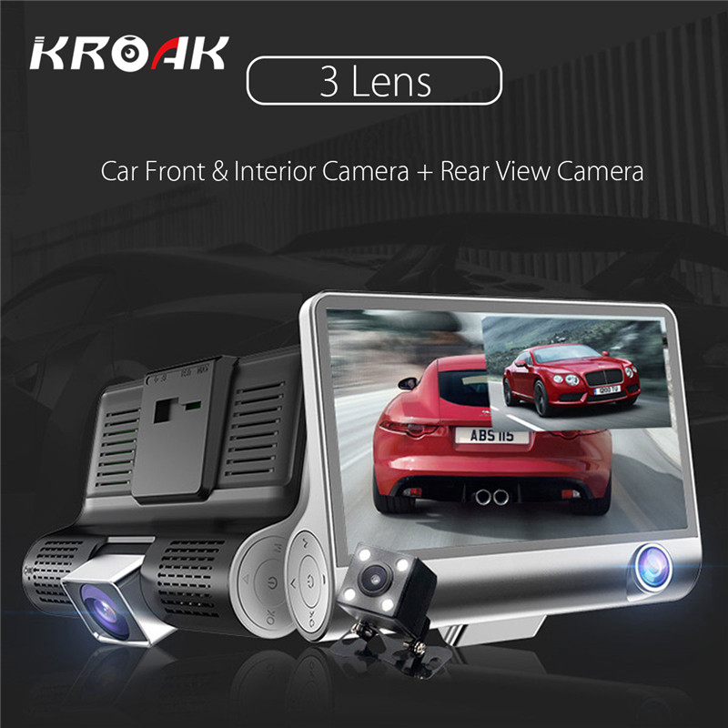 4 HD 1080P 3 Lens Car DVR Dash Cam G sensor Video Recorder Car Rear View
