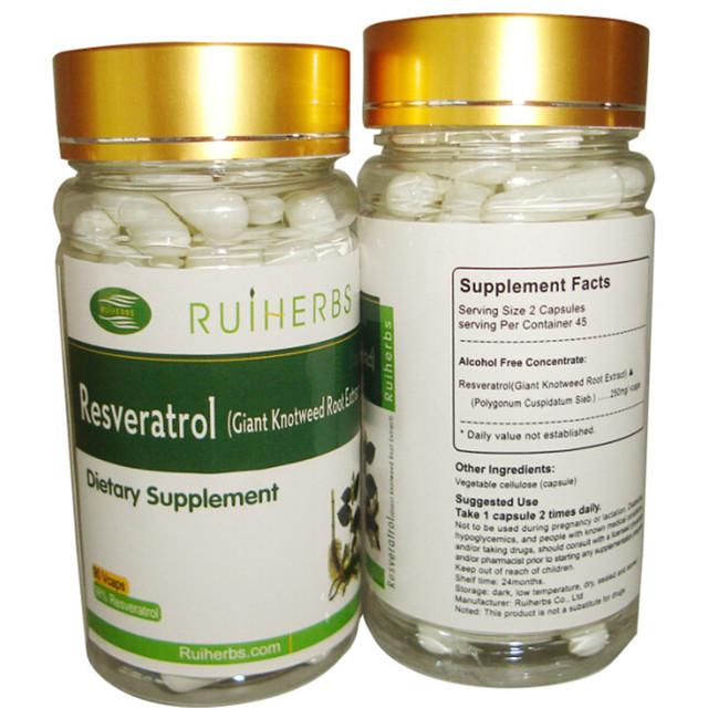 1 Garrafas de Resveratrol Extrato Da Cápsula 500 mg x 90 pcs para o Máximo de Apoio Anti-Envelhecimento, Impulsionar o Sistema imunológico & Saúde Do Coração