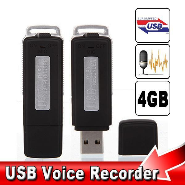 2 in 1 Mini 4GB USB Pen Flash Drive Disk Digital Hide Audio Voice Recorder 70 Hours Sound Rechargeable Recording Dictaphone