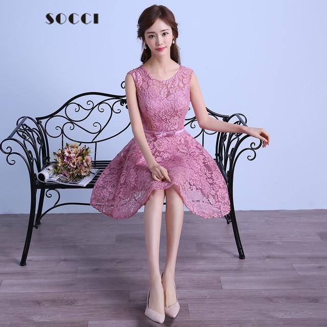 Sucia Rosa Vestido de cóctel de Encaje 2016 Gris Cremallera Volver Una Línea de Partido Formal de La Boda Vestidos de bow sashes Vestidos de Recepción por encargo