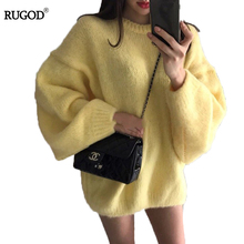 RUGOD Plus Size Women Sweater Women Solid Loose O-neck Lantern Sleeve Sweaters And Pullovers Winter Casual Warm Sueter Mujer