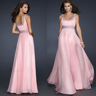 Sexy Sequins Pink Chiffon Evening Party Gown Formal Dress Uk In