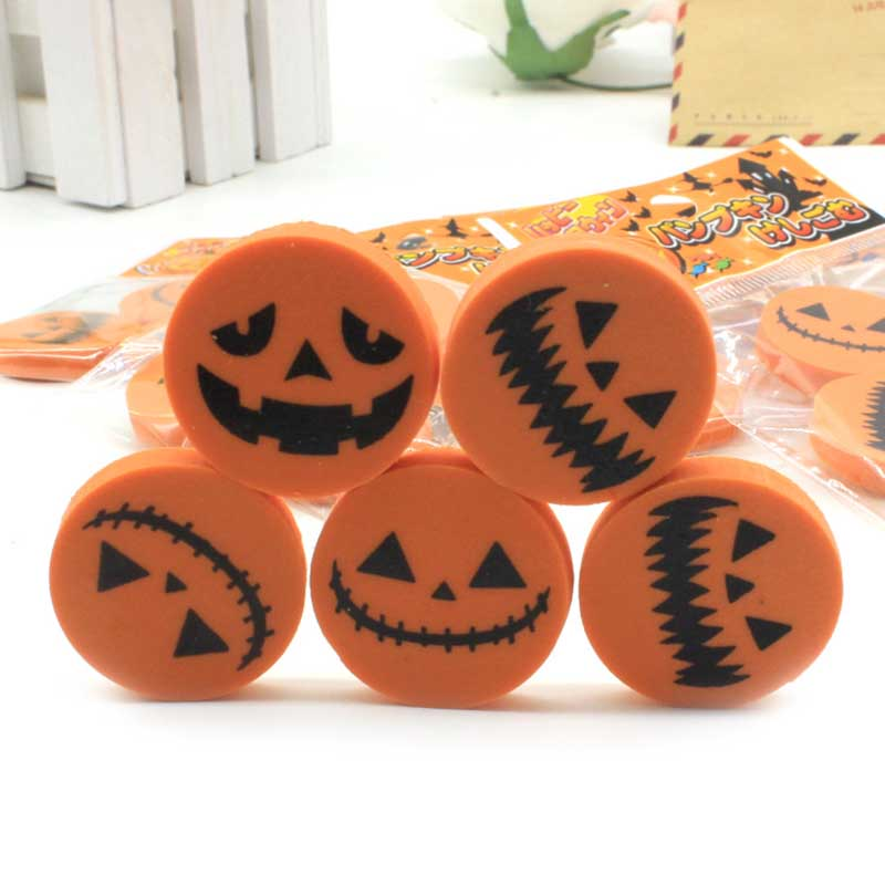 Creative Halloween Rubber Pumpkin Printing Eraser A Bag Of 3 Packs Student Stationery Gift Giveaway Reward