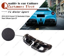 Akcesoria samochodowe suche włókna węglowego D styl tylny dyfuzor 2 sztuk nadające się do 2012-2015 F12 Berlinetta tylnego zderzaka dyfuzor Lip
