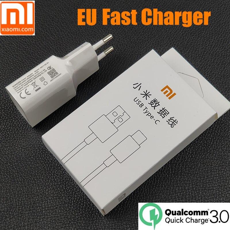 D'origine UE xiaomi mi 8 chargeur mi 8 qc 3.0 rapide charge rapide pow adaptateur usb type C câble pour mi 6 mi x 2 2 s a1 a2 max 2 3 mi 6x 6x