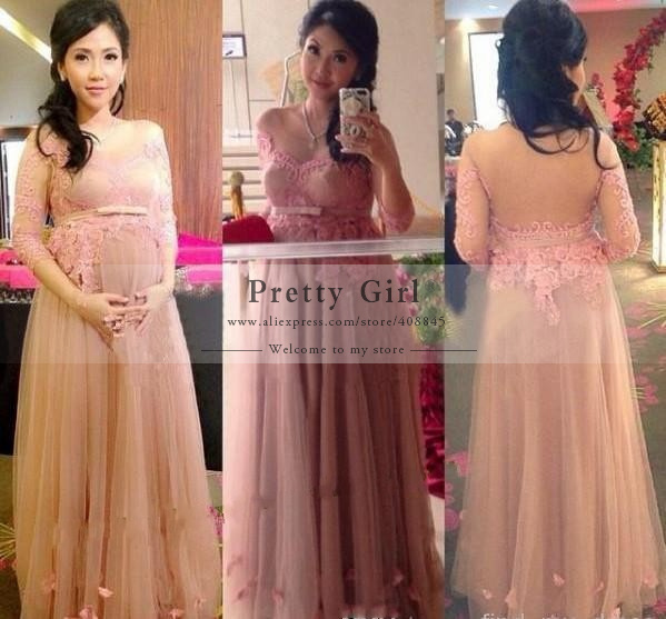 Popular Elegant Maternity Evening Dresses with Sleeve-Buy Cheap ...