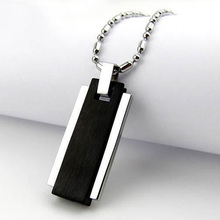Fashion Men Jewelry 316L Stainless Steel Necklaces Movable Square Column Titanium Steel Black Color Pendants With Bamboo Chain