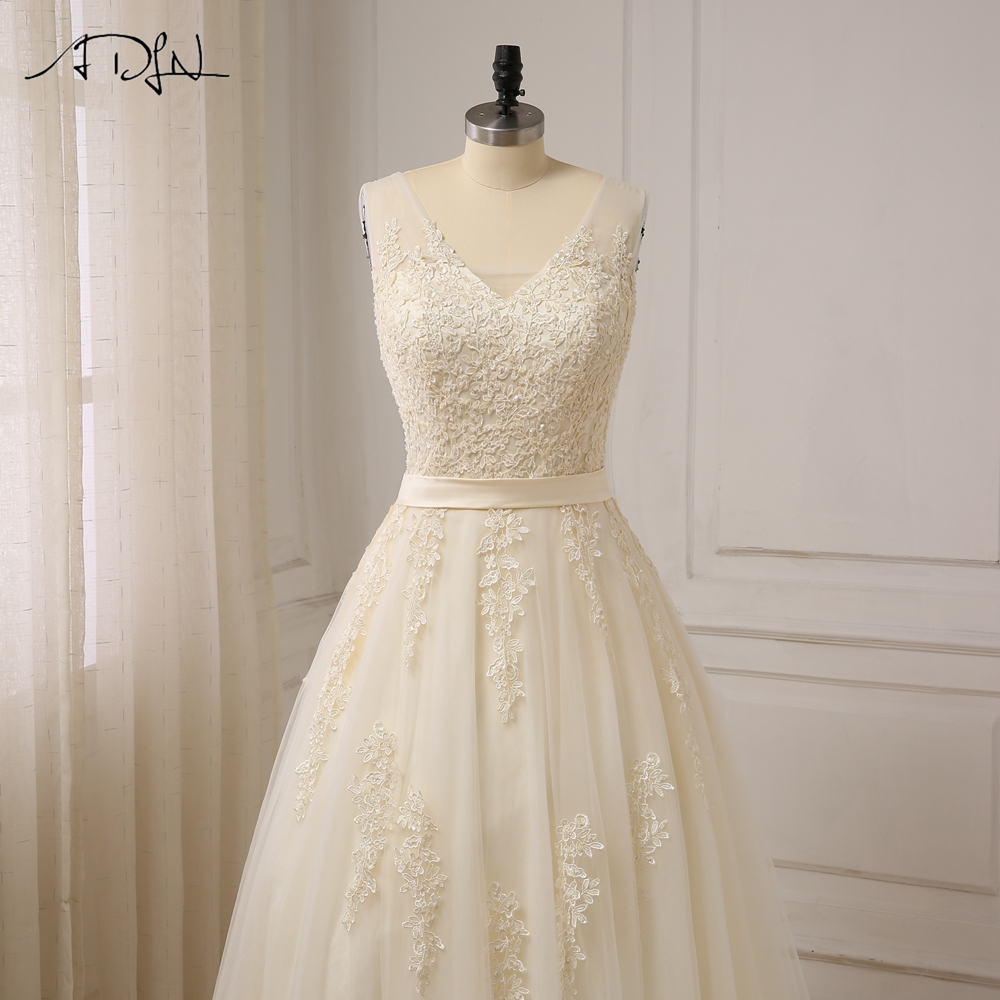 Elegant V-neck Beads Bodice Open Back A Line Long Evening Dress