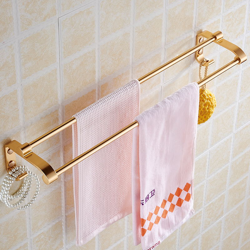 Wall Mounted Towel Bar With Hooks Double Towel Rack Railof Decorative  Bathroom Accessories Space Aluminum Wall Shelf In Towel Bars From Home  Improvement On ...