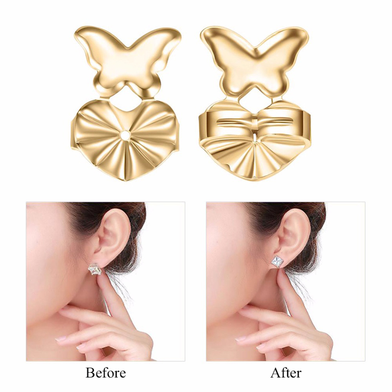 Earring Backs Support Butterfly Earring Lifts Fits all Post Earrings Set Gold Color Silver Color Earrings Jewelry Accessories|Jewelry Findings & Components|   - AliExpress
