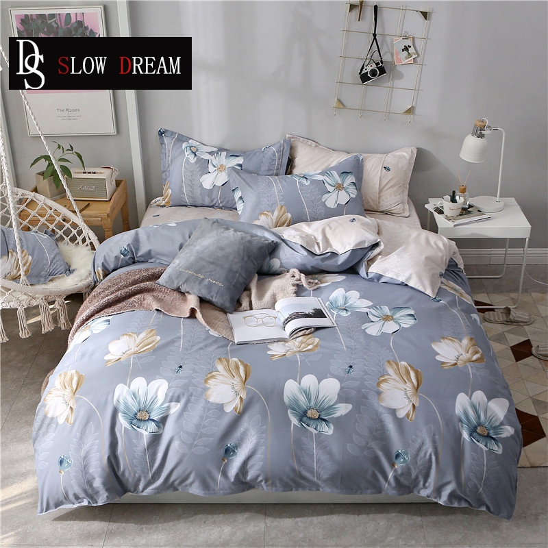 SLOWDREAM Bed Flat Sheet Duvet Cover Set Double Queen King Bedspread Bed Linen Nordic Decor Home Bedding Set Single Twin Bed Set in Bedding Sets from Home Garden