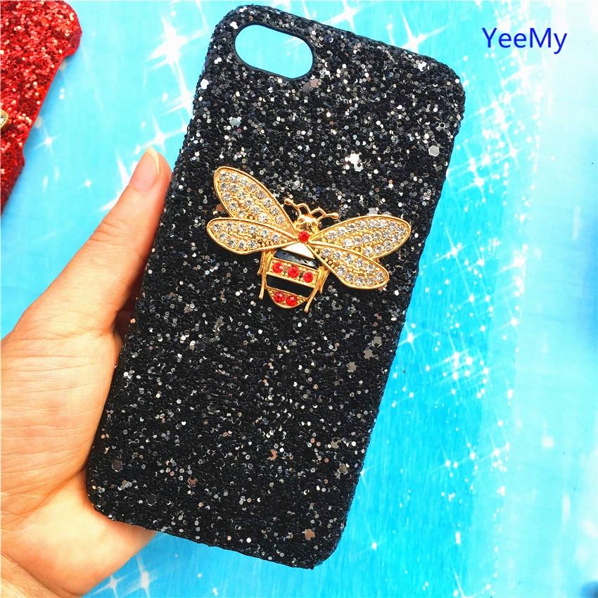Hard Case Für Iphone X 8 7 6 S Plus 5 5 S Se Bling Glitter Luxus Bee Diamant Telefon Abdeckung Fall Protector Dame Mädchen Zurück Fällen Rheuma Und ErkäLtung Lindern