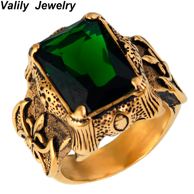 Mens Gold Color Vintage Gothic Dragon Claw Biker ring Band green CZ Crystal ,stainless steel fashion cross finger ring jewelry