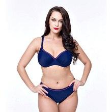2017 de gama Alta Más Tamaño Bikini traje de Baño Las Mujeres de Cintura Alta de Dos pieza del traje de Baño Empuja Hacia Arriba El Borde Sólido Trajes de Baño de Gran Tamaño 4XL-8XL