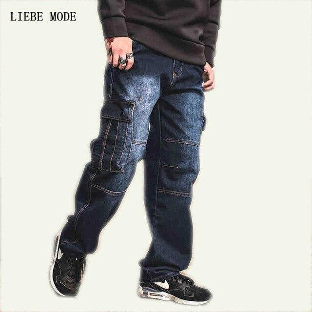 Japón estilo de marca para hombre Denim Pantalones vaqueros Biker hombres  pantalones sueltos Jeans azul con 724c3a88967