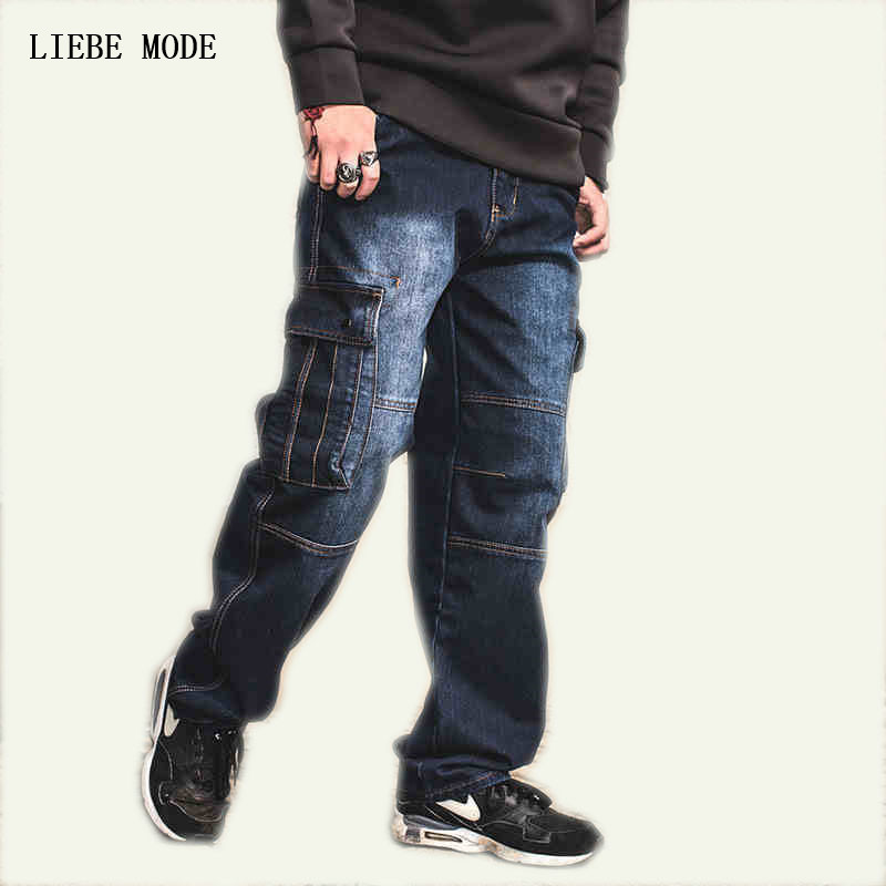 Japan Style Brand Mens Straight Denim Cargo Pants Biker Jeans Men Baggy Loose Blue Jeans With Side Pockets Plus Size 40 42 44 46