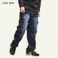 Stile del giappone Mens di Marca Dritto Pantaloni Denim Cargo Jeans Biker Uomo Baggy allentati Blue Jeans Con Tasche Laterali Plus Size 40 42 44 46