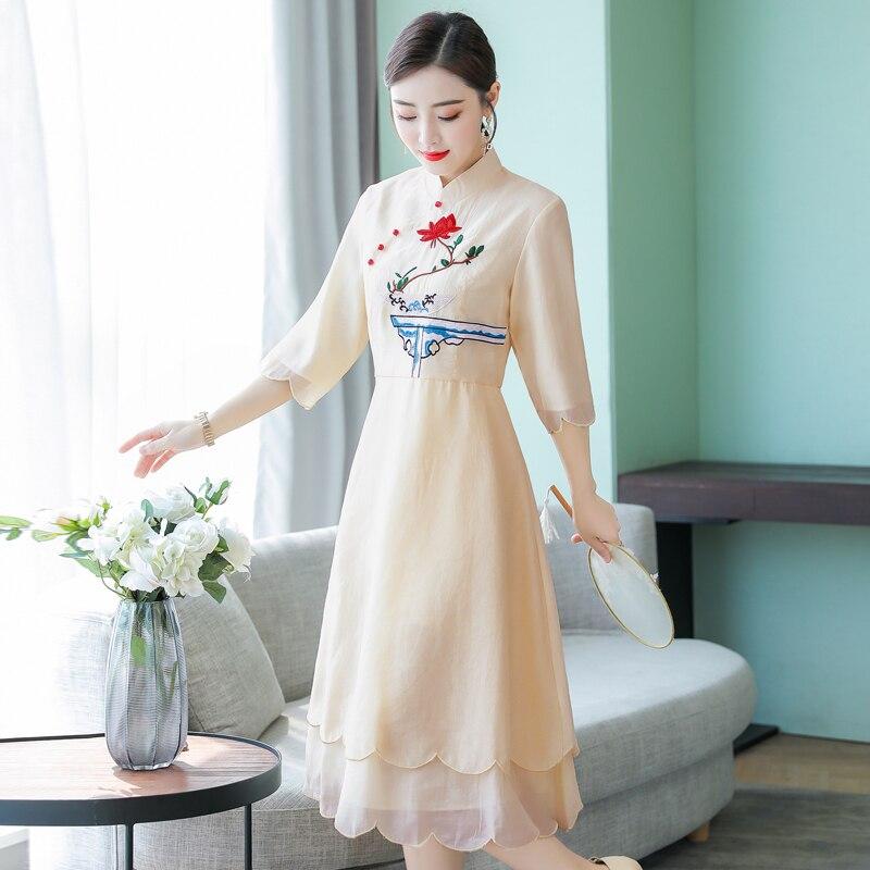 2019 verano las mujeres vestido de noche cheongsam mejorada elegante dama de honor boda qipao noble baile de graduación vestidos fiesta vestido de chino - 4