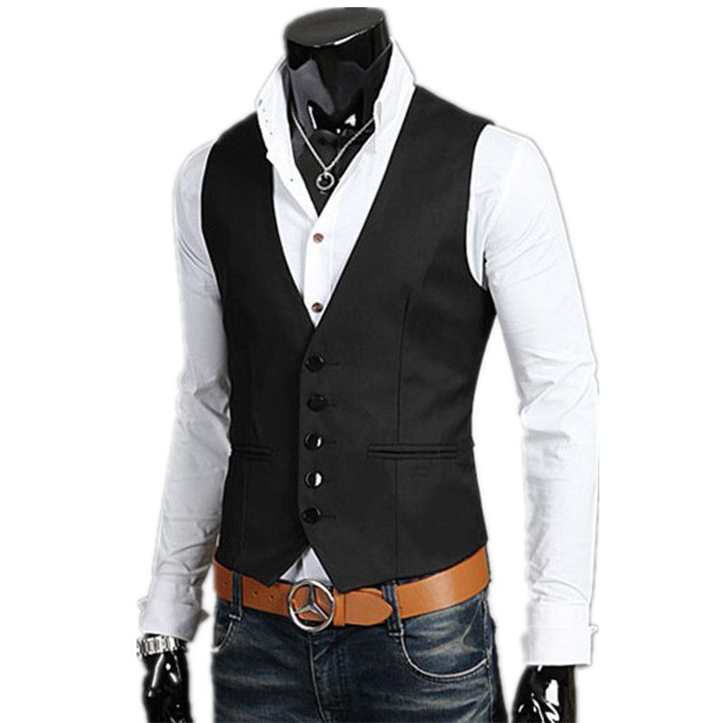 2018 fashion new mens casual business vest / Mens Solid Color Business Dress Vest waistcoat