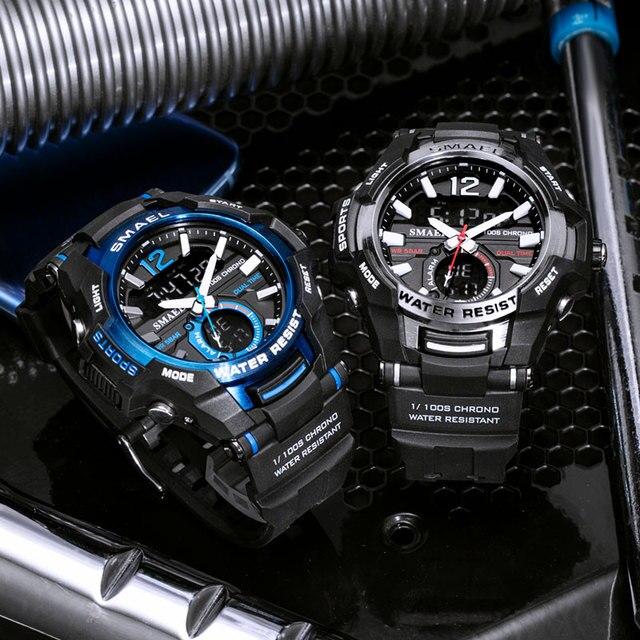 Smael 2020 relógios masculinos moda esporte super legal quartzo led relógio digital 50 m relógio de pulso à prova dwaterproof água relógio masculino 5