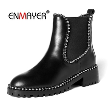 ENMAYER Women short boots lady fashion punk round toe slip-on ankle boots women square heel boots Size 34-39 Winter shoes CR1715