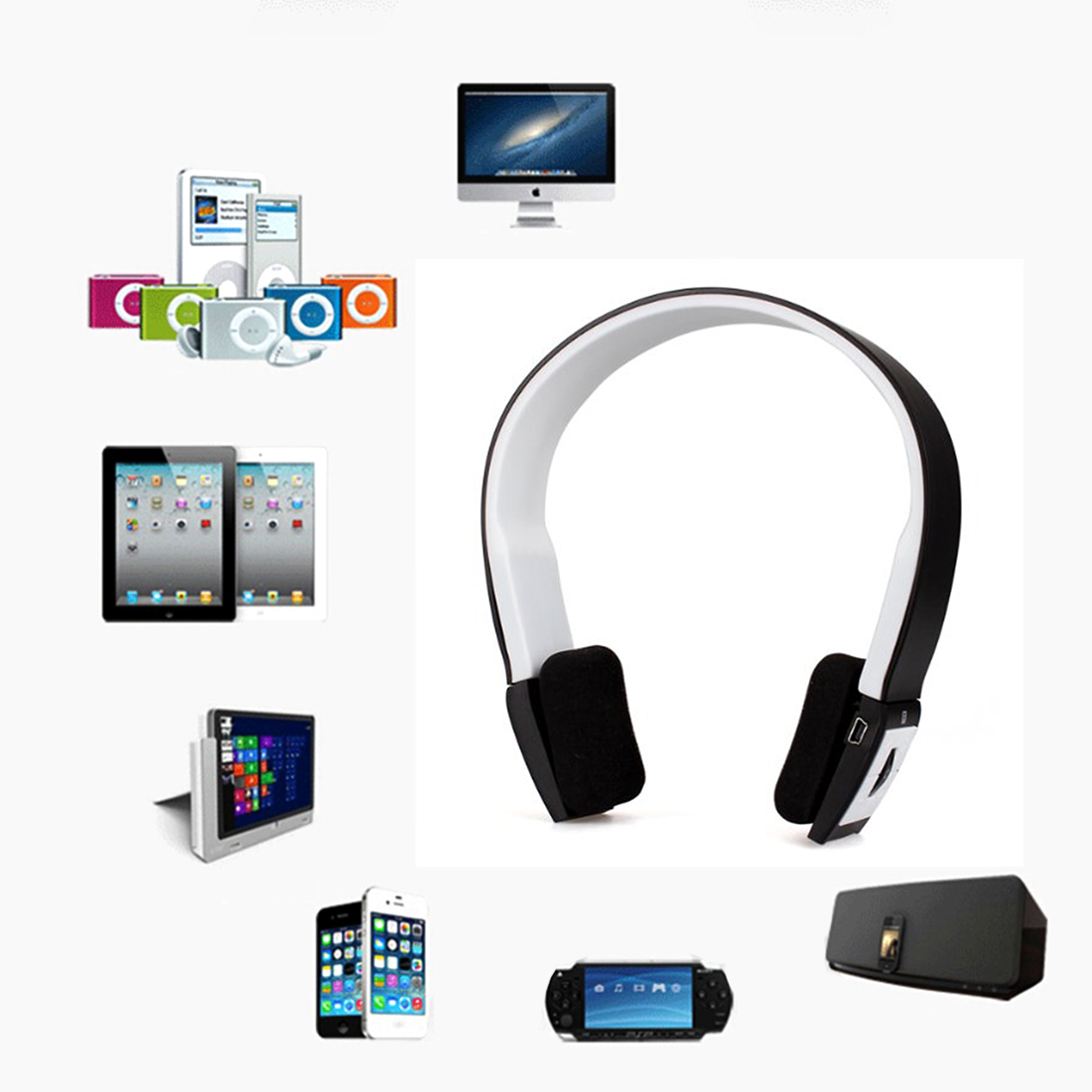New Wireless Bluetooth Headphones Sports Stereo Headset Headphone +Mic for iPhone Mobile Phones Notebooks for Samsung Wholesale 50pcs lot original s9 bluetooth headset s9 sports headphones wireless headset for iphone android iso