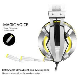 Image 2 - Eksa e800 gamer fone de ouvido macio earpads sobre a orelha gaming headset azul amarelo fones de ouvido com girar mic led luz para ps4 pc xbox