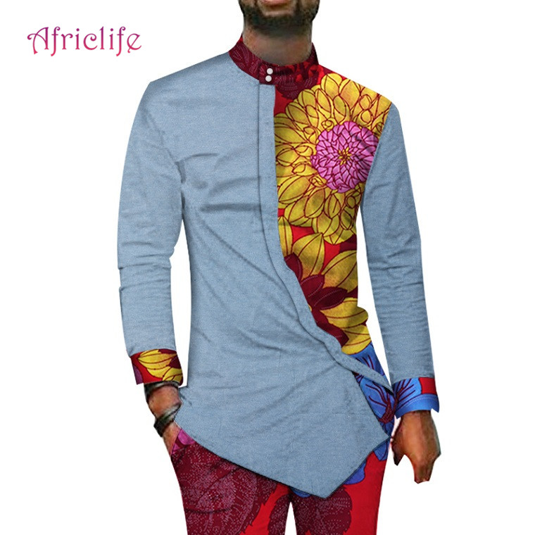 African Style Clothing Mens Print Clothes 100% Cotton Patchwork Top and Long Pants Sets African Print 2 Piece Pants Sets WYN40