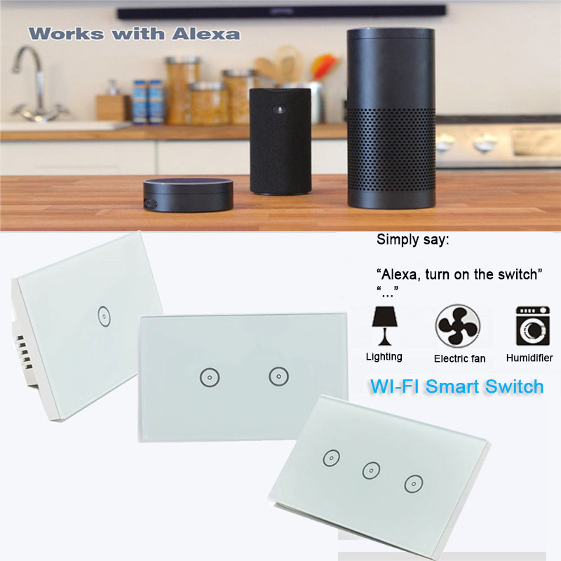 Work with Amazon Alexa Google home Wi-Fi Glass Panel smart mobile control via Tuya app US Touch Light wall switch for smart home work with amazon alexa google home 90 250v smart wi fi switch glass panel uk 3gang touch light wall switch ewelink app