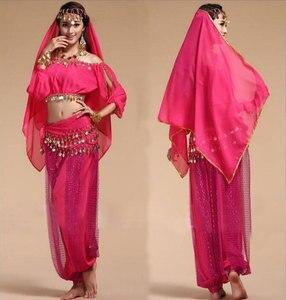 Image 2 - בוליווד הודי ריקוד תלבושות סט לנשים שיפון בוליווד Orientale בטן ריקוד תלבושות סט לאישה