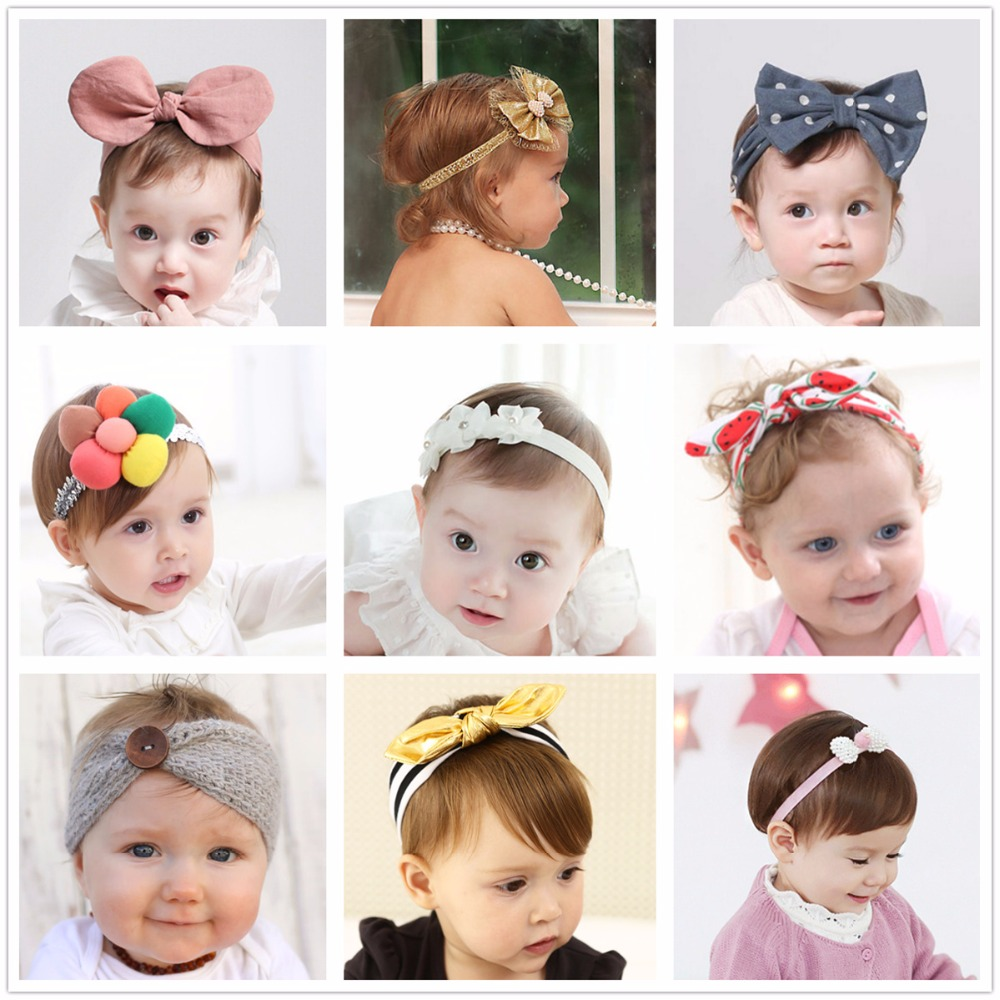 2018 kawaii flower headband rabbit ears baby girls kids children hair accessories bow turban hair head band elastic hairband