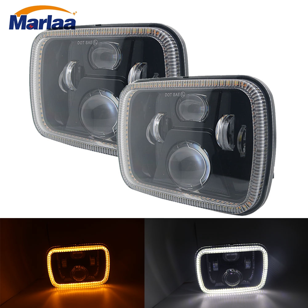 1Pair 5x7 7x6 Inch White DRL H4 LED Amber Turn Signal Light For Jeep Wrangler YJ Cherokee XJ Comanche MJ Led Square Headlamp 4pcs black led front fender flares turn signal light car led side marker lamp for jeep wrangler jk 2007 2015 amber accessories