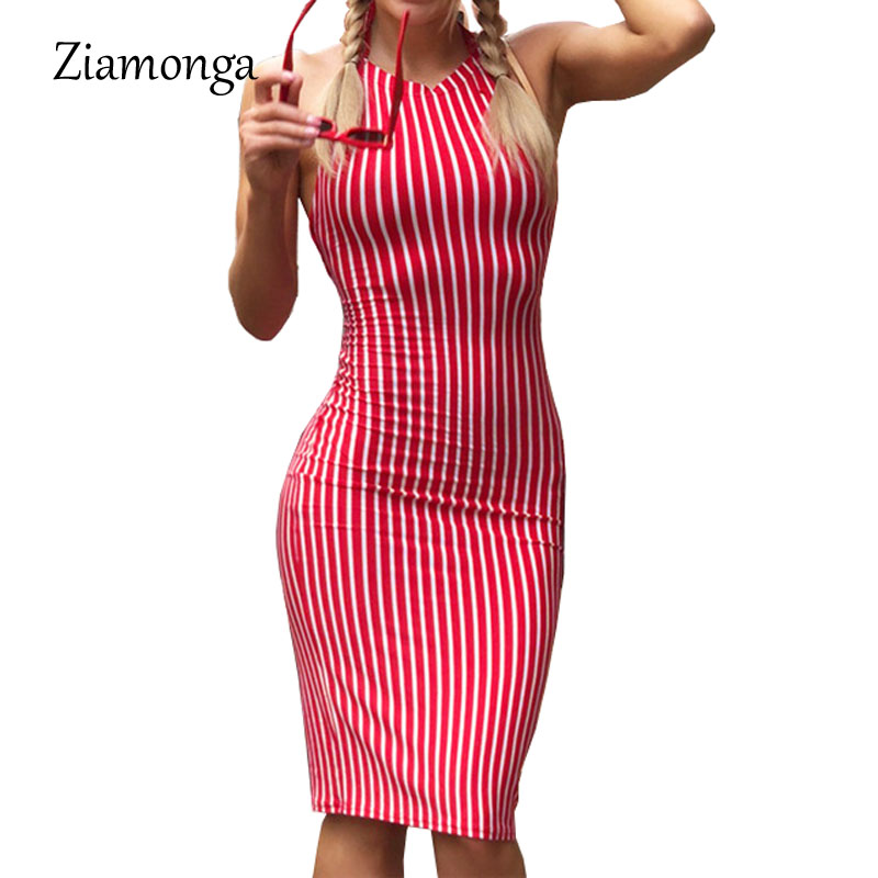 Ziamonga 2018 Robe Casual Summer Dresses For Women Backless Lace Up Bodycon Dress  Sexy Knee Length 168a294700a1