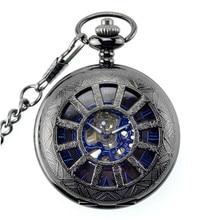 Forsining 12 Agujeros Rueda Diseño Azul Dial reloj de Bolsillo Mecánico Relojes de Calidad Superior Larga Cadena de Reloj Para Mujer Para Hombre Montre Homme