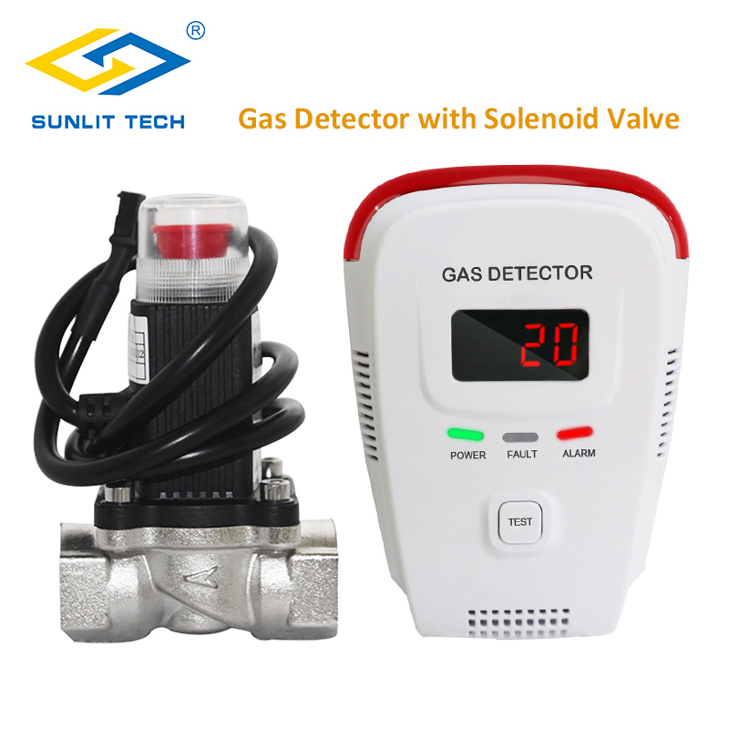 Gas Detector Household Combustible Gas Leak Tester Monitor LPG Gas Sensor Alarm System with DN15 Brass Valve Auto Shut Off Gas golden security lpg detector wireless digital led display combustible gas detector for home alarm system