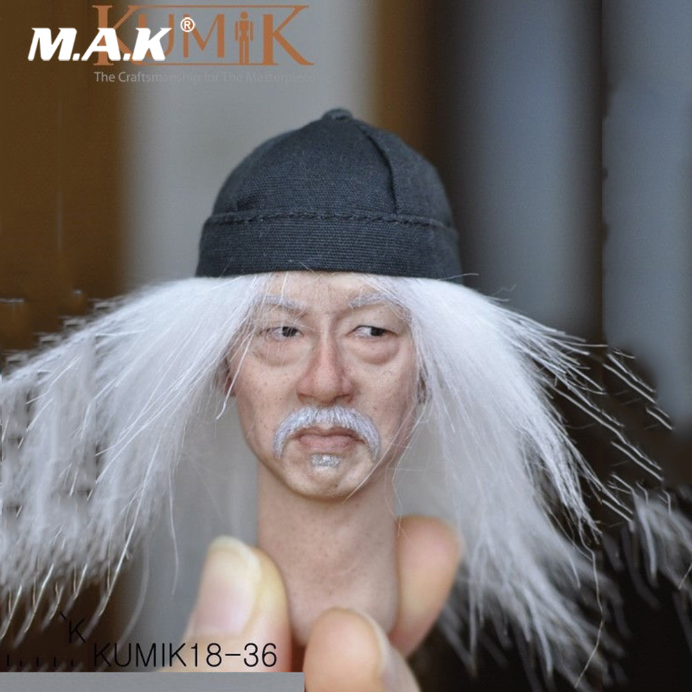 1/6 Scale KUMIK KM18-36 Male Actor Head Sculpt Caving with White Hair Fit 12'' Action Figure Body kumik kmf029 1 6 comic version catwoman with two head shape12inch male doll set of end product