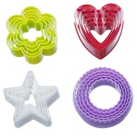Stars Heart Round Plum 4 Shapes Sugarcraft Cake Decorating Fondant Mold Tools Set Cookie Cutters