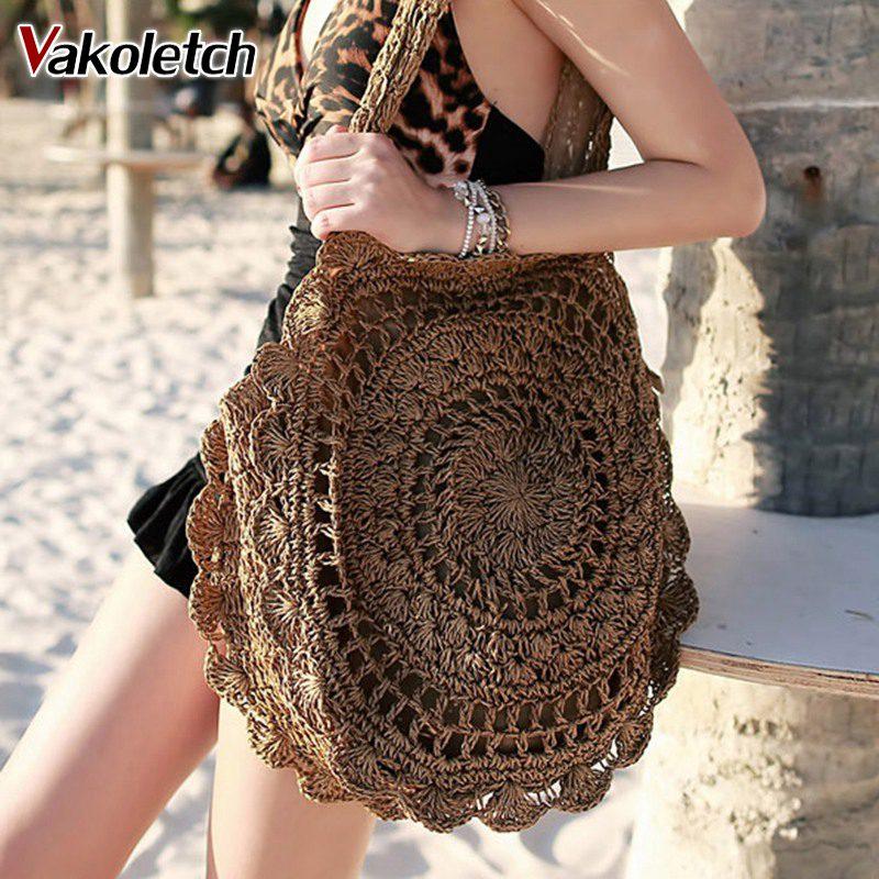 2018 Bohemian Straw Bags for Women Big Circle Beach Handbags Summer Vintage Rattan Bag Handmade Kintted Travel Bags KL318
