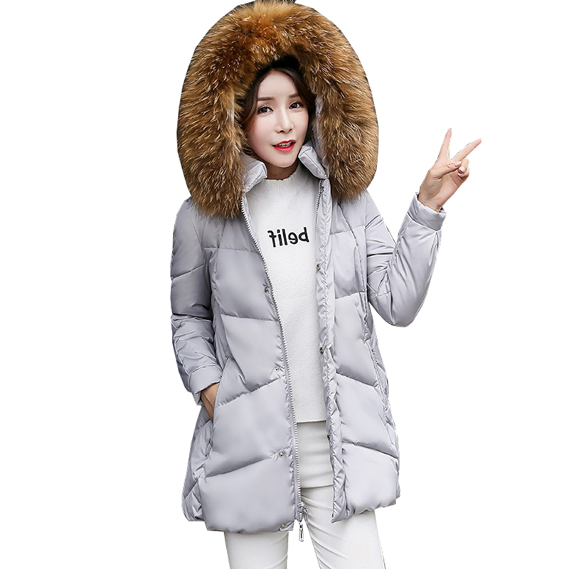 Oversized A-shape women   down   jacket 2017 winter female white duck   down     coat   thicker outerwear hooded fur collar   down   parkaQH0998